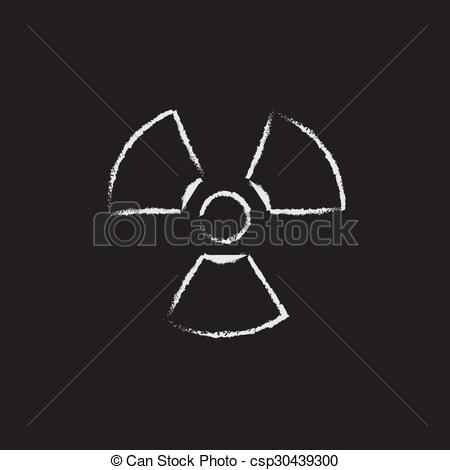 Vector Clipart of Ionizing radiation sign icon drawn in chalk.