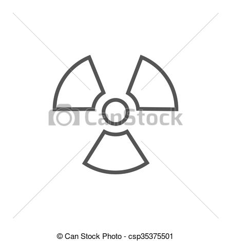 Vector Clipart of Ionizing radiation sign line icon..