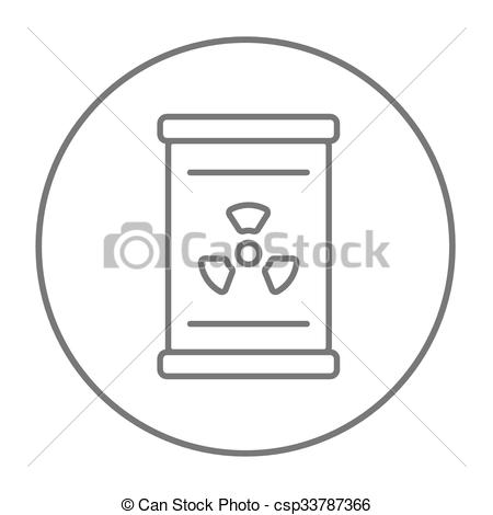 Clip Art Vector of Barrel with ionizing radiation sign line icon.