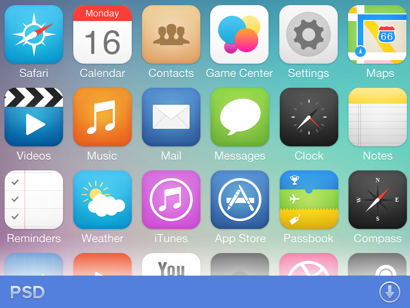 iOS7 Icon Pack by Michael Shanks on Dribbble.
