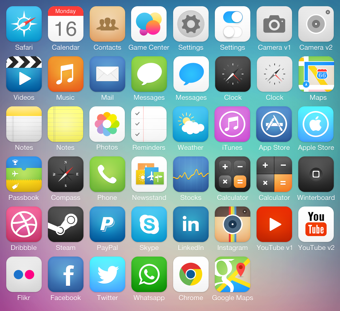 iOS7 Icon Pack by Michael Shanks.