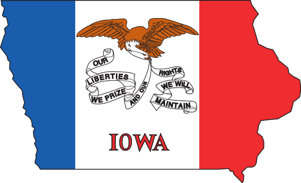 Iowa Flag On State Outline Clipart.