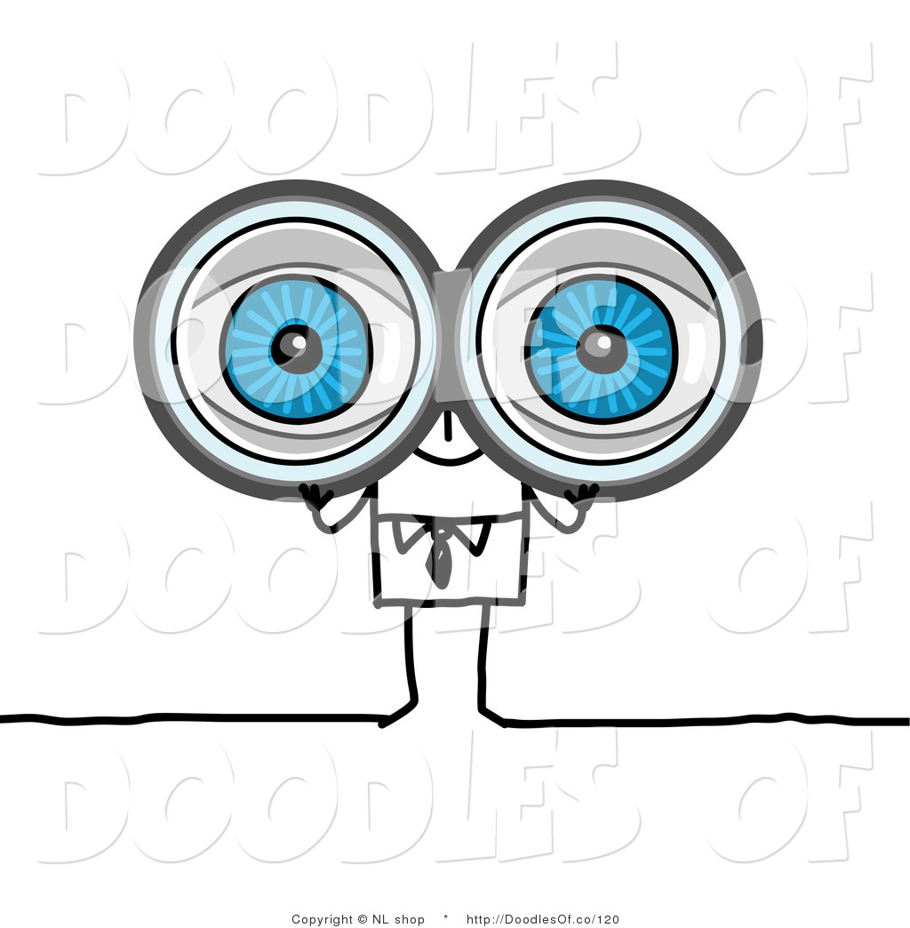 Man Looking Through Binoculars Clipart.
