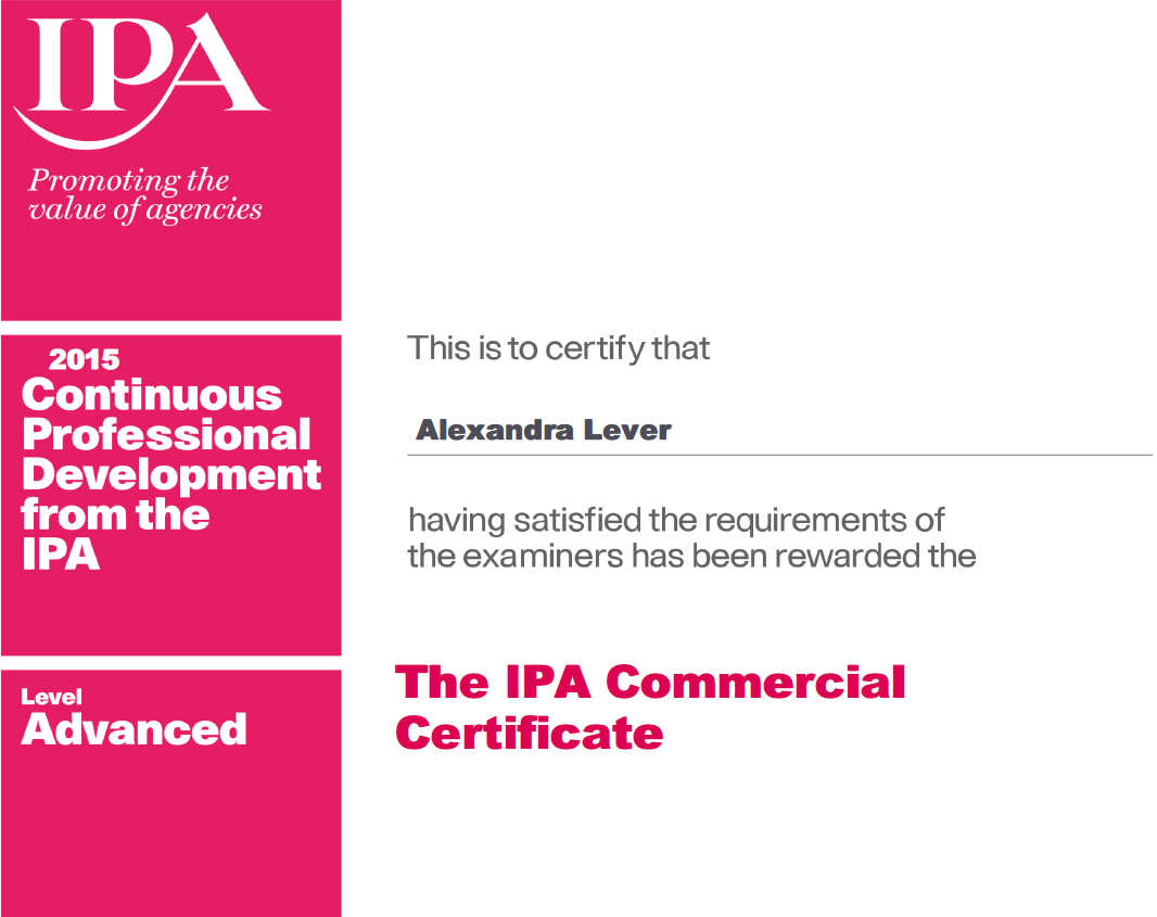 The IPA Commercial Certificate.