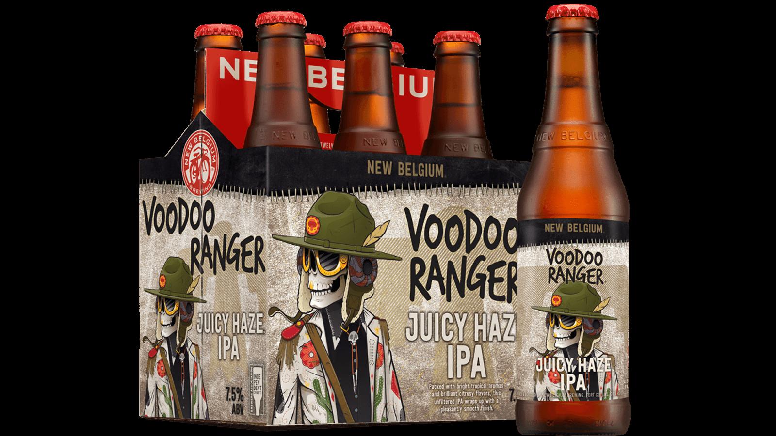 New Belgium Voodoo Ranger Juicy Haze IPA.