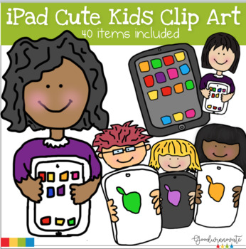 ipad Cute Kids clip art set.