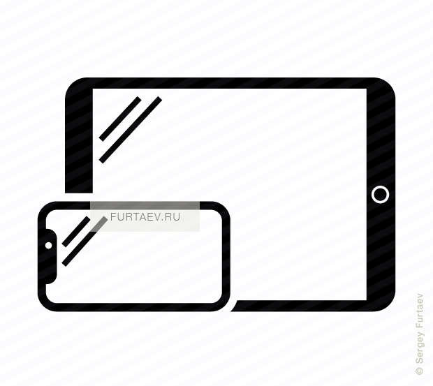 Vector Icon Of Horizontal Smartphone And Tablet Computer.