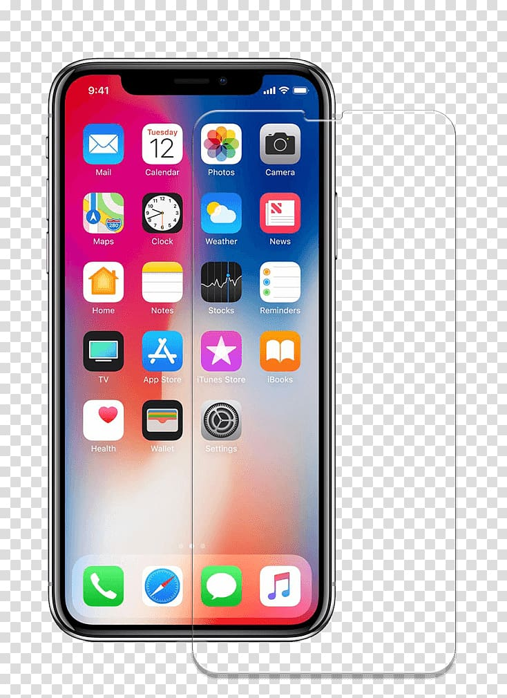 IPhone X iPhone 4 Smartphone Apple LTE, screen protector transparent.