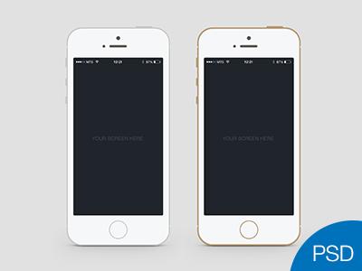 Flat iPhone 5S PSD Mockup.