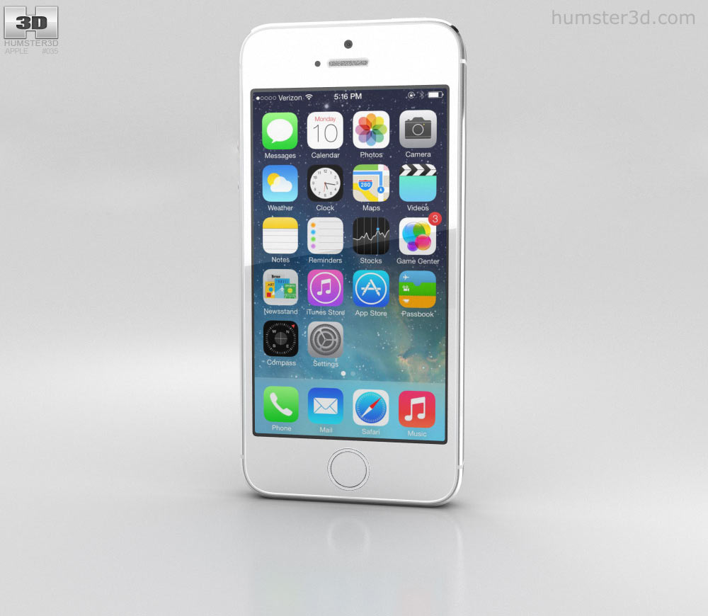 Apple iPhone 5S Silver (White) 3D model.