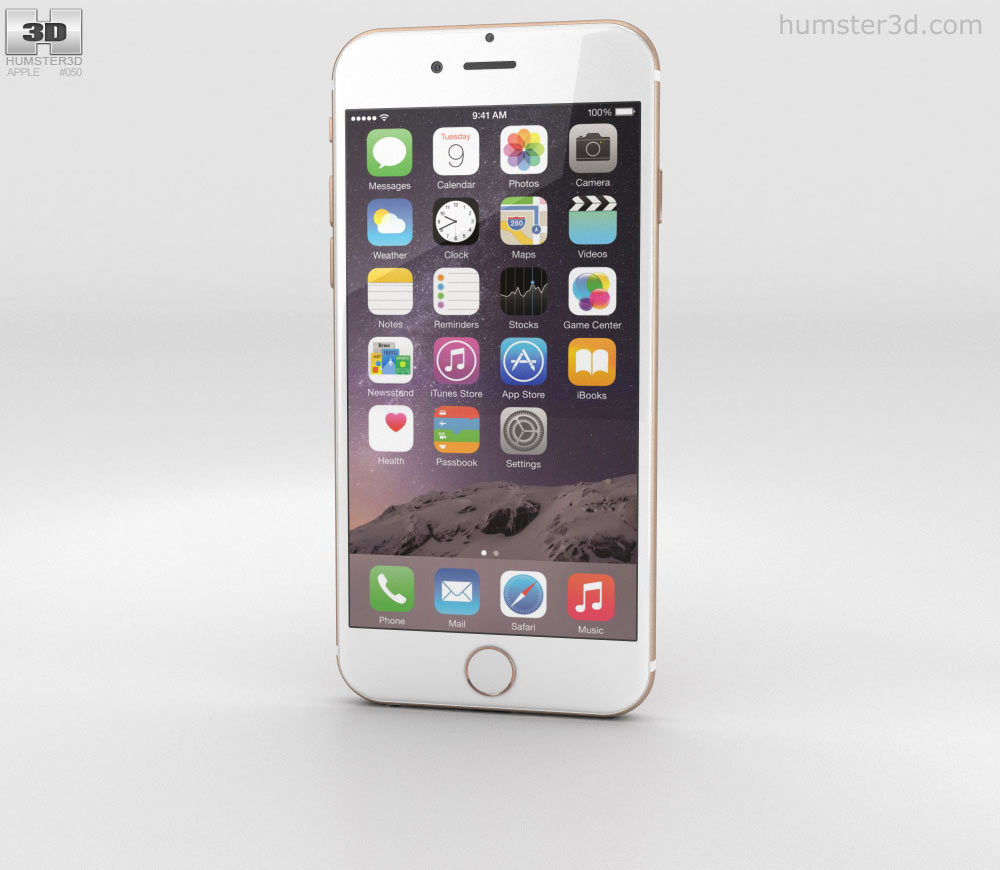 Apple iPhone 6 Gold 3D model.