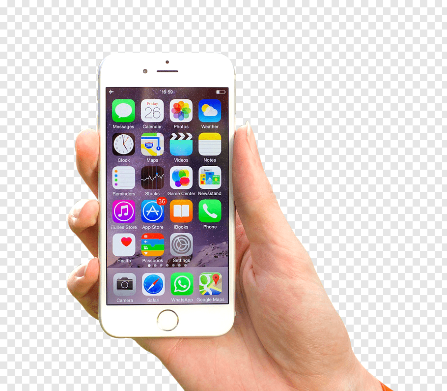 Silver iPhone 6 displaying icons, iPhone 6 Plus Business.