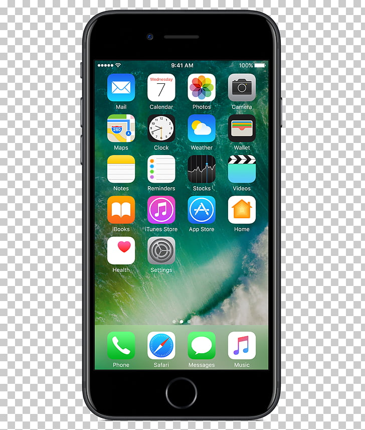 Apple iPhone 7 Plus 128 gb jet black, screen front PNG.