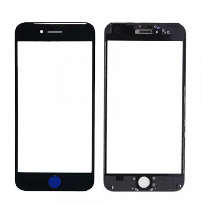 GLASS FRONT WITH FRAME FOR IPHONE 7 BLACK.