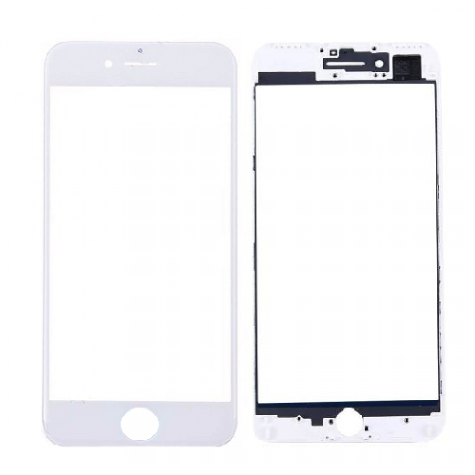 FRONT GLASS WITH FRAME FOR IPHONE 7 PLUS WHITE.