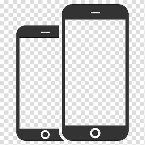 Two white iPhone screen illustrations, iPhone 8 iPhone X.