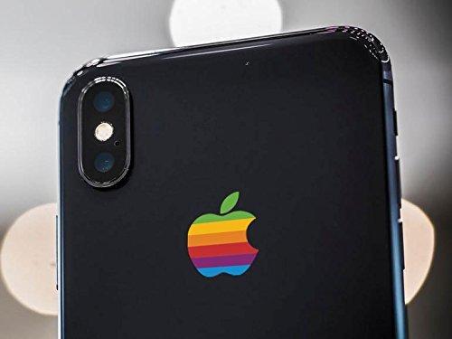 Retro Apple Logo Decal Sticker for iPhone X, iPhone 7 Plus, iPhone 8 Plus.