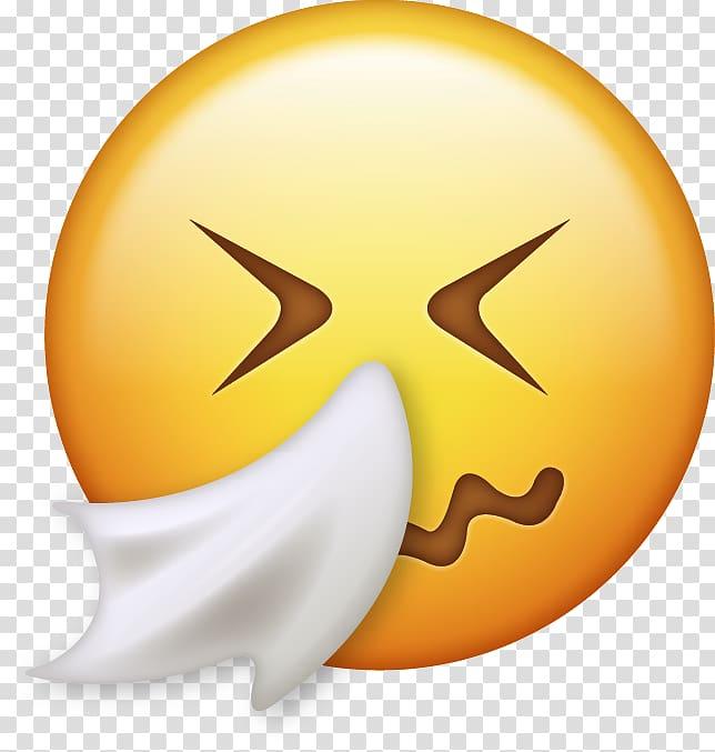 IPhone Emoji Emoticon Smiley Sneeze, Apple splash transparent.