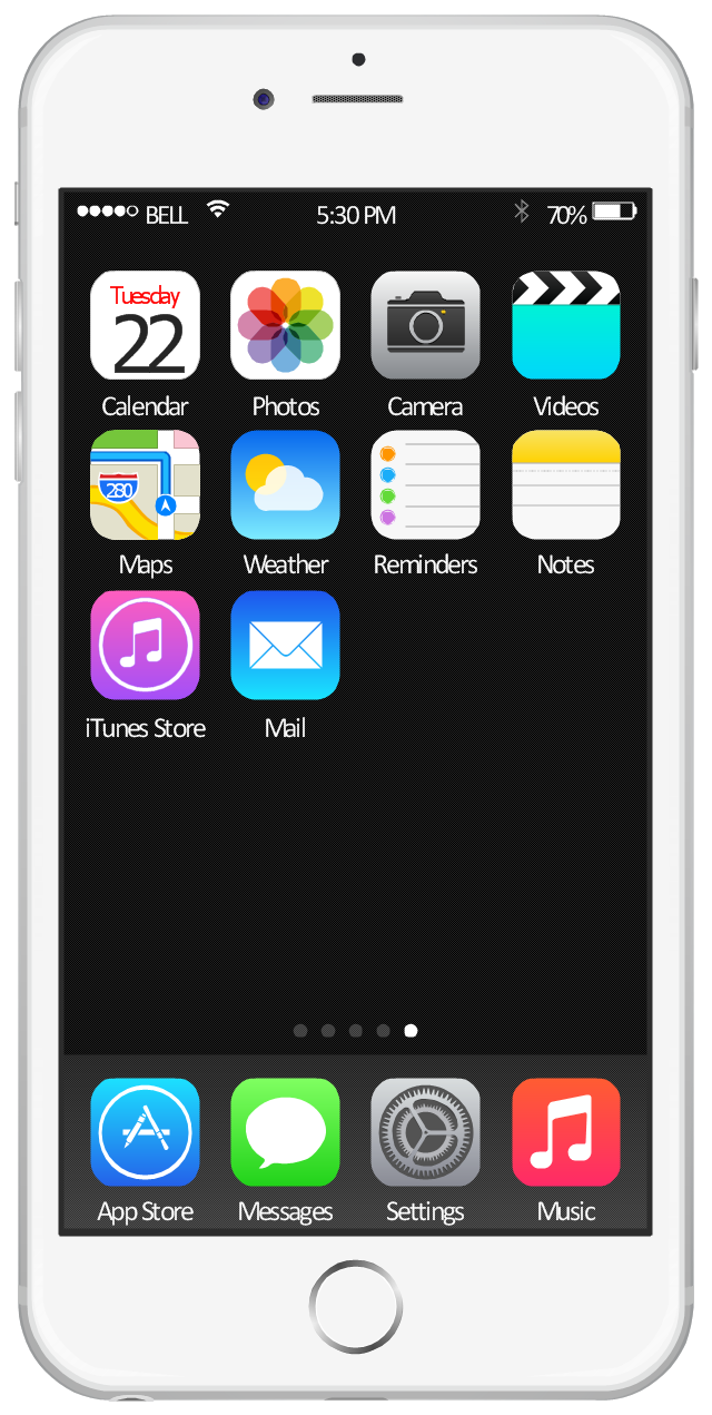 iOS 8 / iPhone 6 home screen.