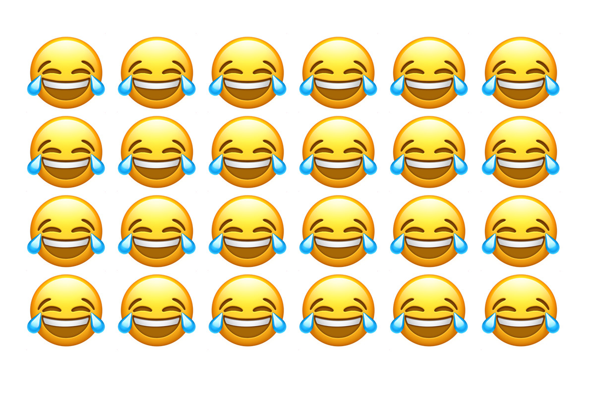 The Face with Tears of Joy emoji is the most popular.