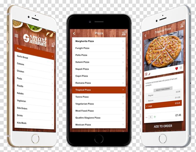 Smartphone iPhone Investor Font, Restaurant Menu App.