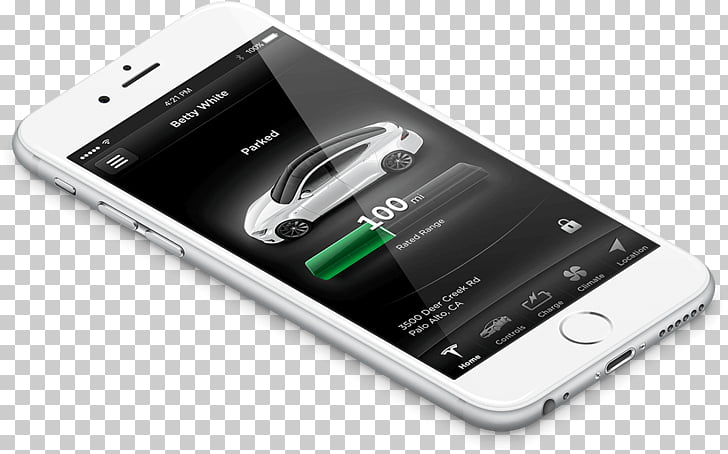 IPhone Mockup, Tesla charging PNG clipart.