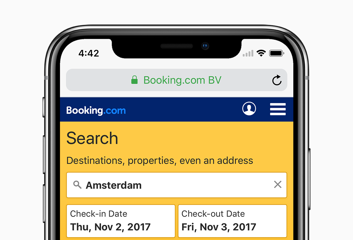 How we adapted the Booking.com mobile site for the iPhone X notch..