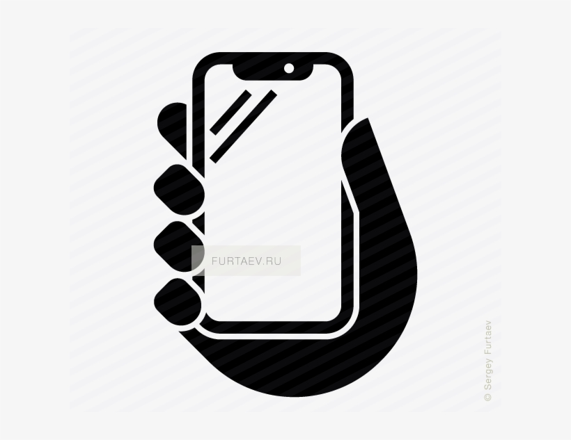 Iphone X In Hand Vector Icon Vector Black And White.