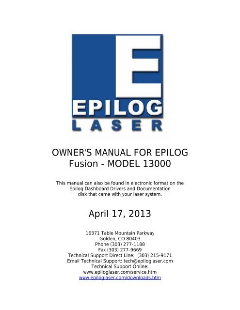 OWNER\'S MANUAL FOR EPILOG Fusion.