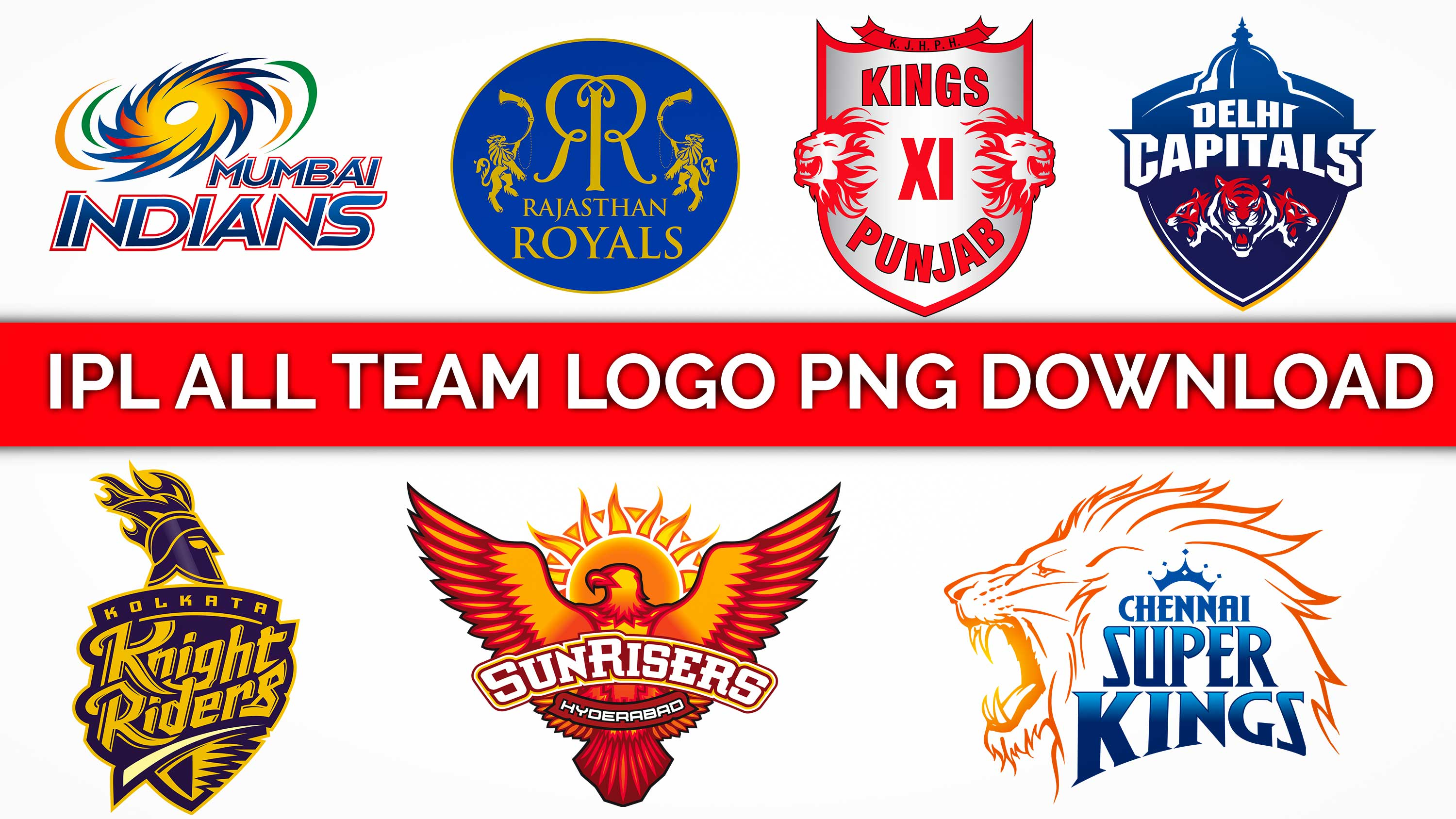 IPL 2019 all team\'s logo png free download for picsart.