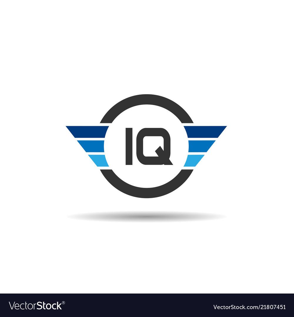 Initial letter iq logo template design.