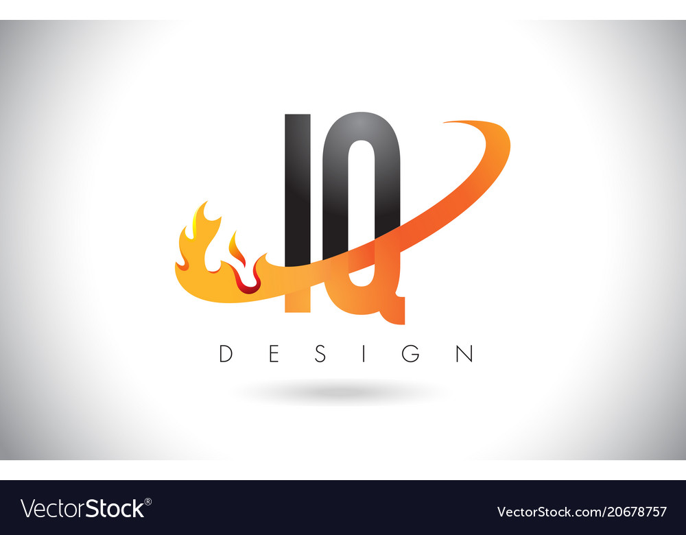Iq i q letter logo with fire flames design and.