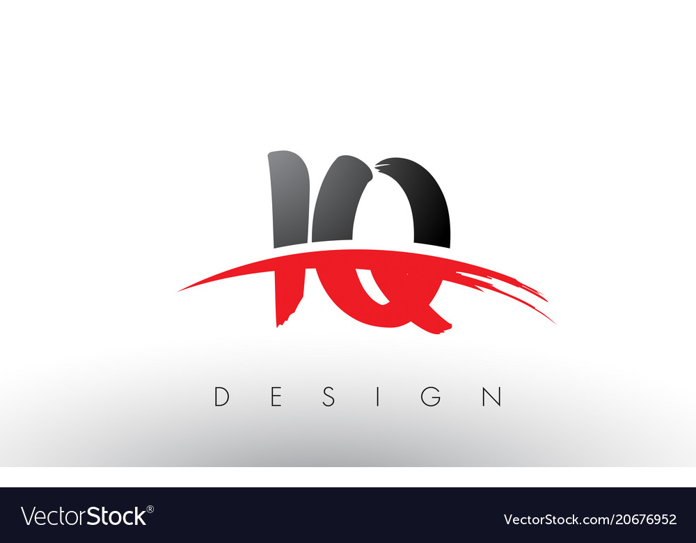 Iq i q brush logo letters with red and black.