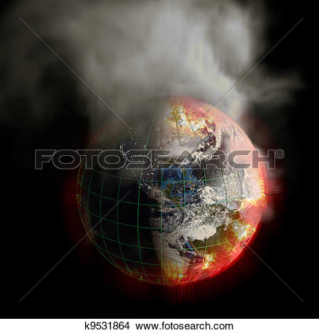 Stock Photo of Earth On Fire Global Warming or Irradiation.