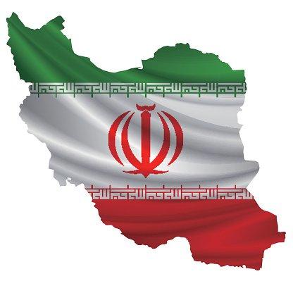 Iran flag map icon Clipart Image.