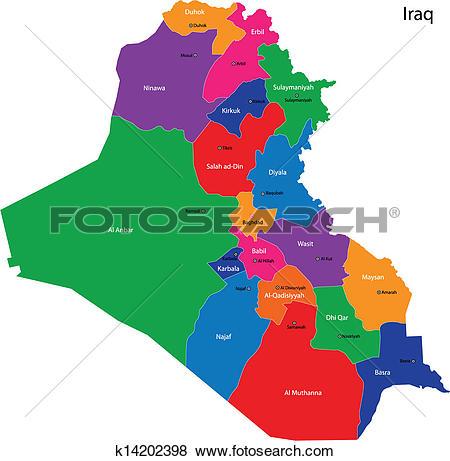 Clip Art of Iraq map k14202398.