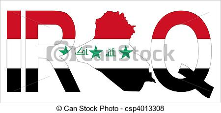 Stock Illustration of Iraq with map on flag.