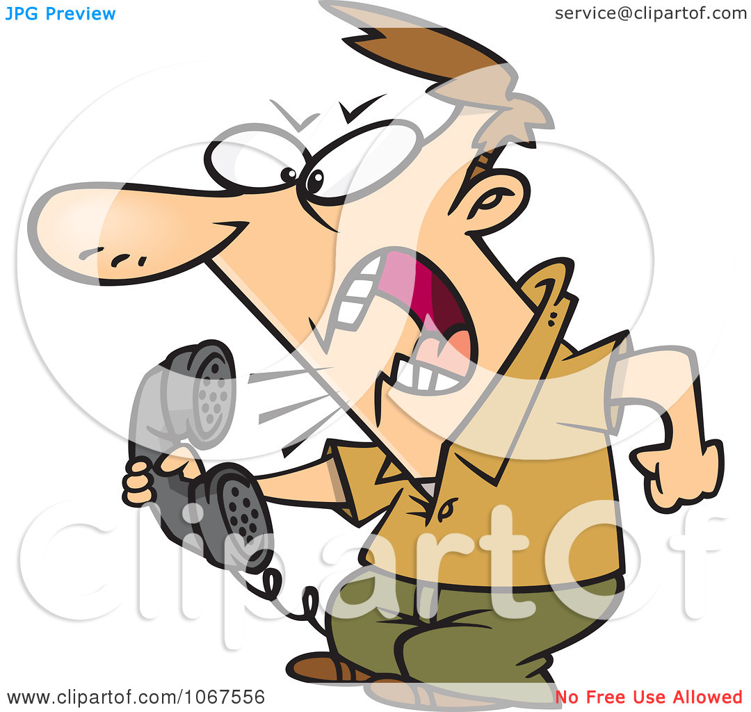 Clipart Irate Man Screaming Into The Phone.