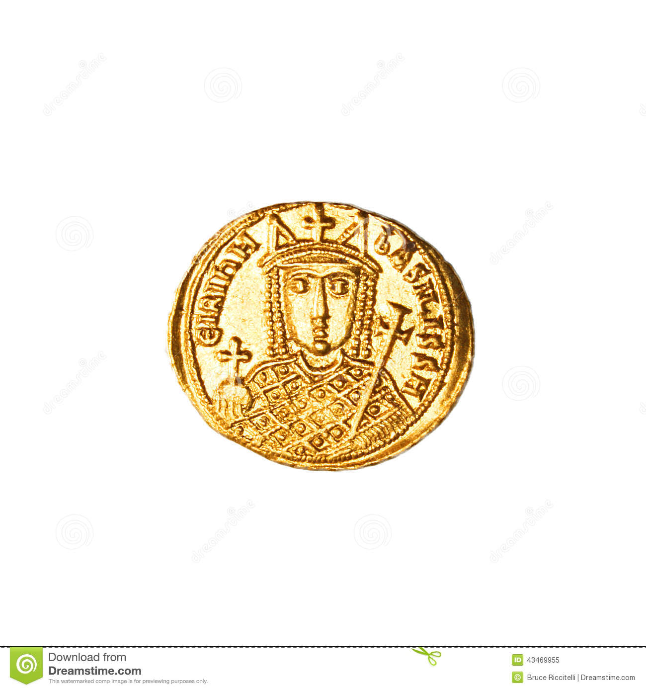 Ancient Byzantine Coin (Reverse) Stock Photo.