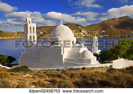 "Stock Photo of ""The Byzantine church of Agia Irene on the harbour."