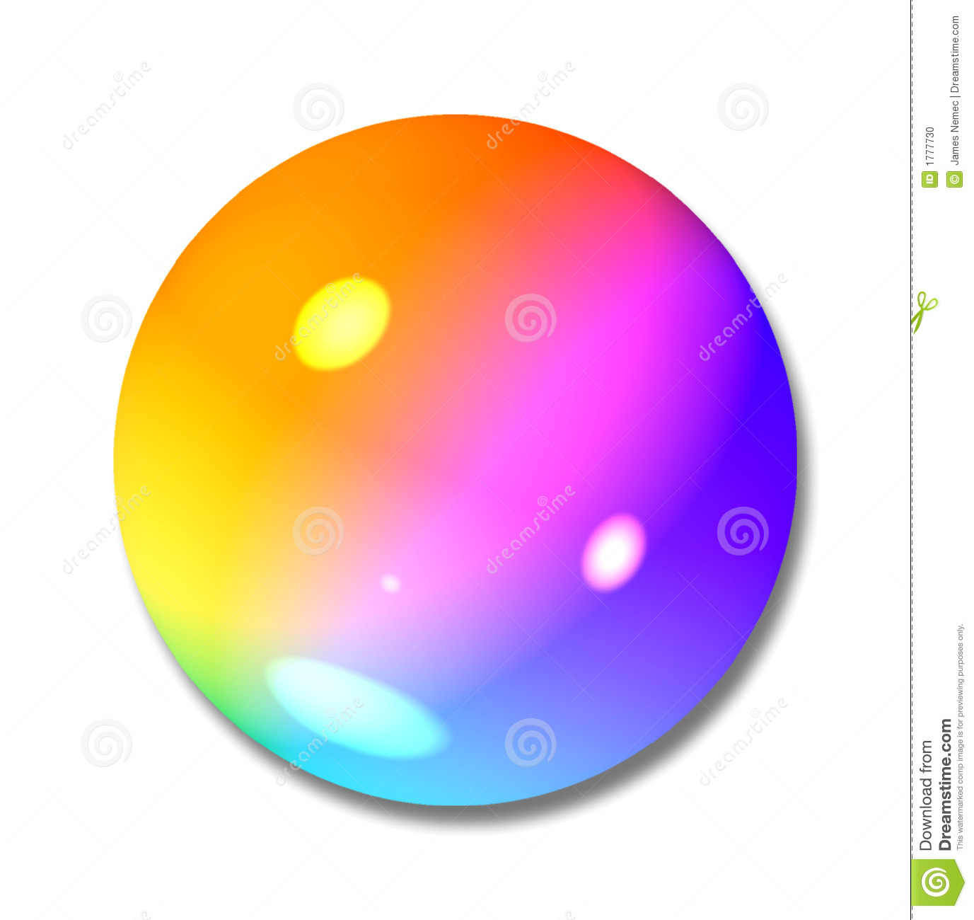 Round Iridescent Ball, Marble Or Button Stock Photo.