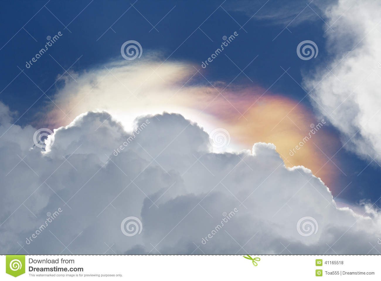 Iridescent Clouds Phenomenon Stock Photo.