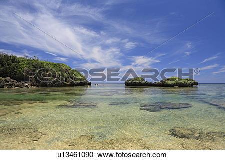 Stock Photography of Star Sand Beach, Iriomote Island, Taketomi.