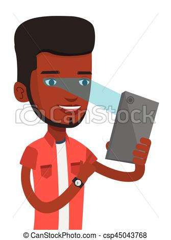 Clip Art Vector of Man using iris scanner to unlock mobile phone.