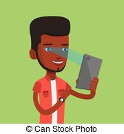 Clip Art Vector of Man using iris scanner to unlock his mobile.