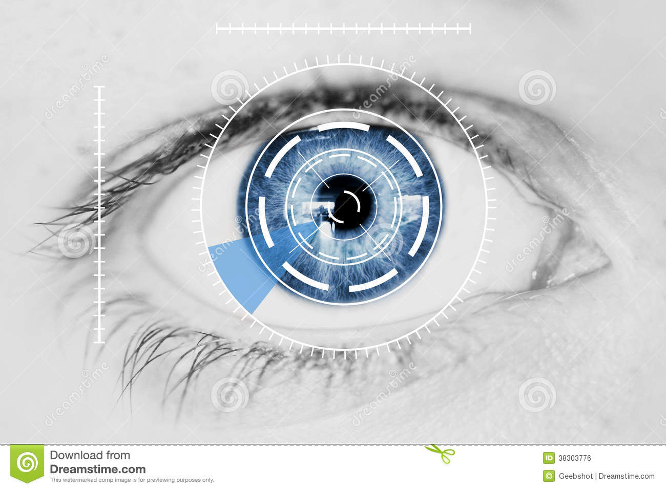 Security Iris Scanner On Blue Human Eye Royalty Free Stock Image.