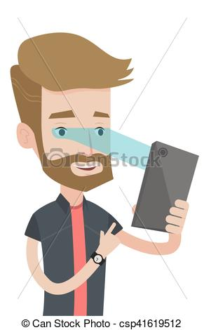 Vector Clip Art of Man using iris scanner to unlock his mobile.