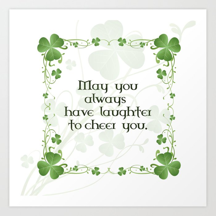 Irish Blessing Shamrock Border Art Print by goldenredeagle.