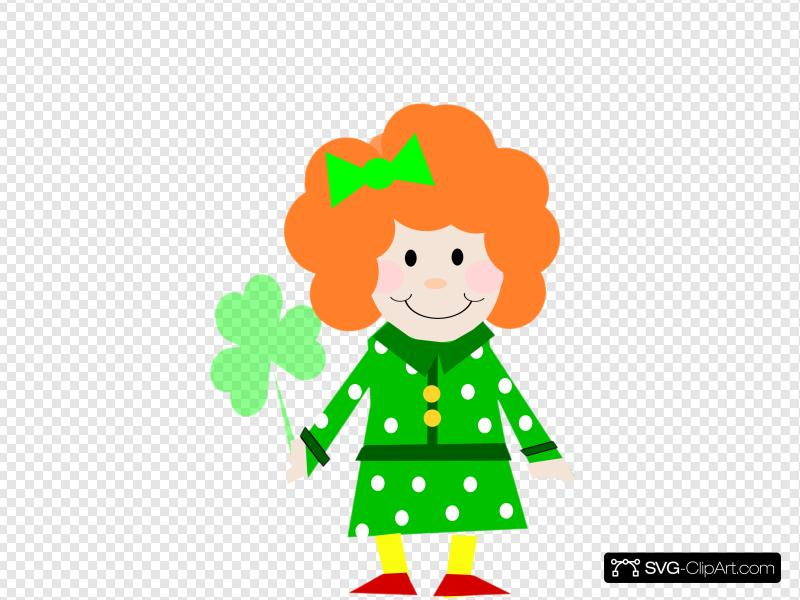 Cute Irish Girl With Clover Clip art, Icon and SVG.