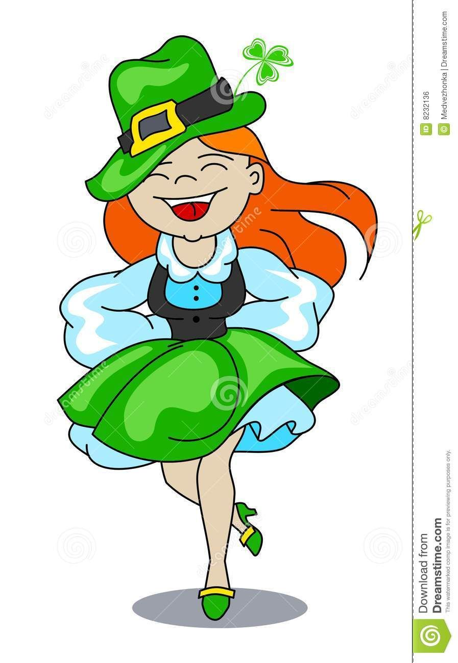 Photo about A girl is dancing an Irish dance. Vector image.